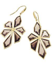 Jewelista - 18k Yellow Gold Vermeil Smoky Quartz Earrings - Lyst