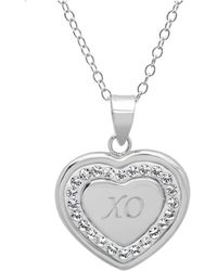 Amanda Rose Collection - Sterling Silver Crystal X-o In Heart Pendant With Swarovski Elements - Lyst