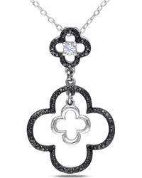 Catherine Malandrino - Black And White Diamond Clover Pendant - Lyst