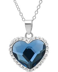 Amanda Rose Collection - Sterling Silver Crystal Heart Pendant With Blue And White Swarovski Elements - Lyst