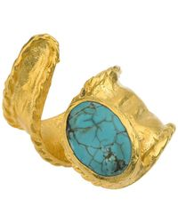 Jewelista - 18k Gold Plate Adjustable Turquoise Ring - Lyst
