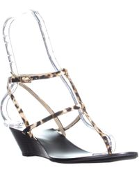 INC International Concepts - I35 Maggee Strappy Wedge Sandals, Natural Multi/black - Lyst