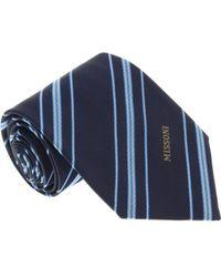 Missoni - U5026 Navy/silver Regimental 100% Silk Tie - Lyst