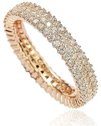 Suzy Levian - Rosed Sterling Silver Micro-pave Cubic Zirconia Eternity Band - Lyst