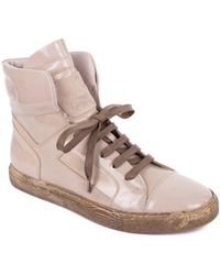 Brunello Cucinelli - Womens Beige Lace Up Patent Trainers - Lyst