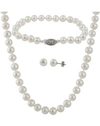 Splendid - 3 Piece White Freshwater Pearl Set With Matching Necklace, Bracelet And Studs - Lyst