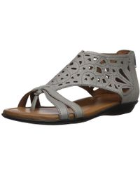 ddee145422a904 Lyst - Cobb Hill Womens Jordan Leather Open Toe Casual Strappy ...