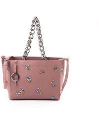Suzy Levian - Pebbled Faux Leather Rhinestone Satchel Handbag - Lyst