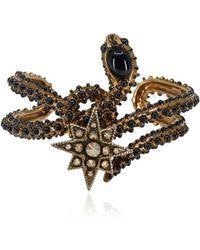 Roberto Cavalli - Brass Black Stone Embellished Serpent Bracelet - Lyst