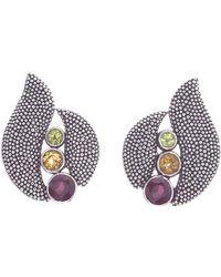 Jewelista - Oxidized Silver Citrine, Garnet & Peridot Earring - Lyst
