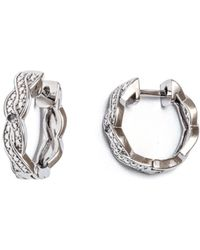 Peermont | 18k White Gold Plated Braid Huggie Earrings With Swarovski Elements | Lyst