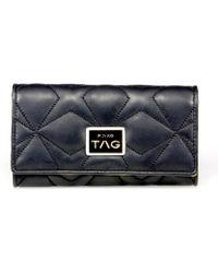 Pinko - Women's Blue/black Faux Leather Wallet - Lyst