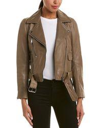 Reiss - Kate Leather Biker Jacket - Lyst