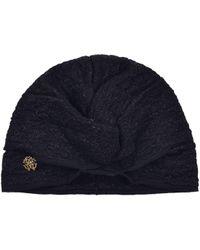 Roberto Cavalli - Womens Black Lurex Ruched Knit Turban - Lyst