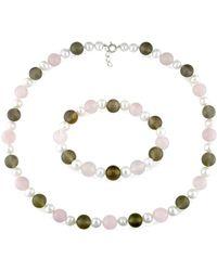 Catherine Malandrino | Freshwater Cultured Pearl, And Gems Strand Stretch Bracelet 2-piece Set | Lyst