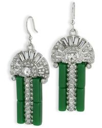 Kenneth Jay Lane - Women's Silver Jade/crystal Earring - Lyst