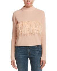 Kendall + Kylie - Fuzzy Trim Wool Sweater - Lyst