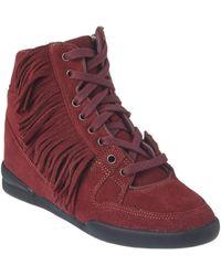 The Kooples - Suede Wedge Sneaker - Lyst