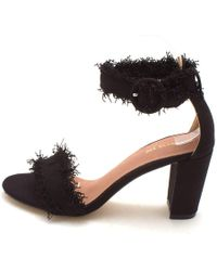 All Black - Womens Hi On The Fringe Fabric Open Toe Ankle Strap Classic Pumps - Lyst