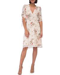 Bobeau - Ember Ruch Sleeve Botanical Print Dress - Lyst