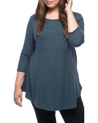 Bobeau - Soft Brushed Plus Size Babydoll Hemline Knit - Lyst
