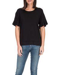a99c844a54fa5 Lyst - Bobeau Ruffle Cold Shoulder Sweatshirt in Black