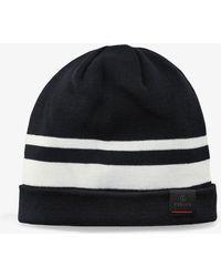 Bogner - Toska Knitted Hat In Navy Blue/off-white - Lyst