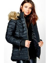 attractive colour highly coveted range of attractive fashion Boohoo Emily Cropped Quilted Bubble Coat in Black - Lyst