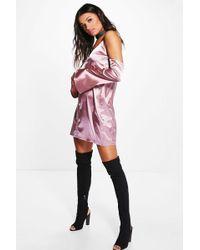 Boohoo   Vera Cold Shoulder Satin Slip Shift Dress   Lyst
