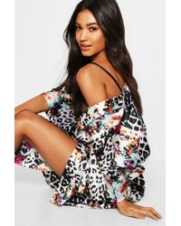 Boohoo - Leopard & Floral Kimono Gown - Lyst