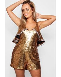 b9f559ab884 Lyst - Boohoo Plus Janine Sequin Wrap Front Playsuit in Metallic