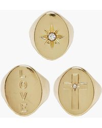 Boohoo - Love & Cross Gold Plated Signet Ring Set - Lyst