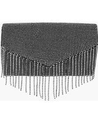 Boohoo - Diamante Fringe Clutch Bag - Lyst
