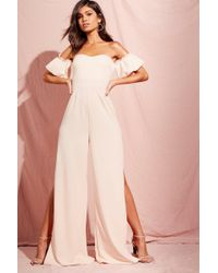 87c4aae1c3f Lyst - Boohoo Plus Off The Shoulder Frill Wide Leg Jumpsuit in Pink