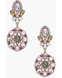 Boohoo - Lucy Statement Floral Diamante Earrings - Lyst