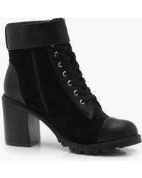 Boohoo - Belt Strap Mix Material Hiker Boots - Lyst
