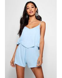 818e2ed0fb9 Lyst - Boohoo Ann Strappy Floral Maxi Overlay Playsuit in White