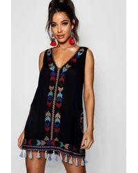 Boohoo - Carla Cheese Cloth Embroidered Tassel Sun Dress - Lyst