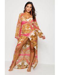 Boohoo - Lucy Scarf Print Wrap Beach Kimono - Lyst