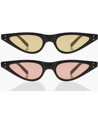 Boohoo - 2 Pack Skinny Cat Eye Sunglasses - Lyst