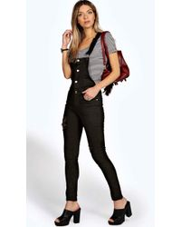 Boohoo - Button Front Slim Fit Denim Dungarees - Lyst