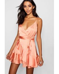 Boohoo - Deanna Satin Frill Skirt Wrap Skater Dress - Lyst