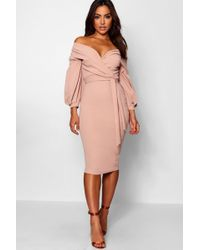 ba9a36391229 Boohoo Petite Off The Shoulder Wrap Midi Dress in Pink - Save 10% - Lyst