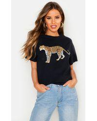 Boohoo Petite Leopard Oversized T-shirt - Black