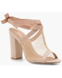 Boohoo - Lacey Mesh Wrap Strap Shoe Boot - Lyst