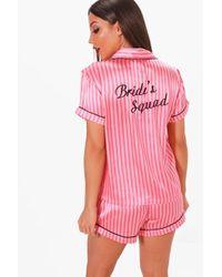 Boohoo - Candy Stripe Brides Squad Satin Short Set - Lyst