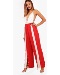 Boohoo - Lucy Popper Front Wide Leg Trousers - Lyst