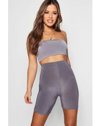 Boohoo - Petite Slinky High Waisted Cycling Short - Lyst