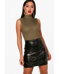 Boohoo - Bella Ribbed Sleeveless Basic Bodysuit - Lyst