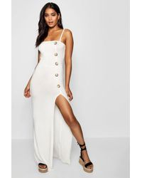 Boohoo - Square Neck Button Detail Maxi Dress - Lyst
